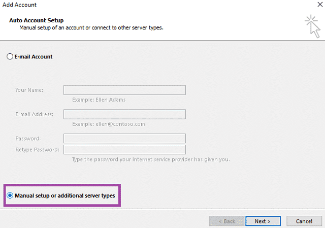 Создание почтового ящика в Outlook