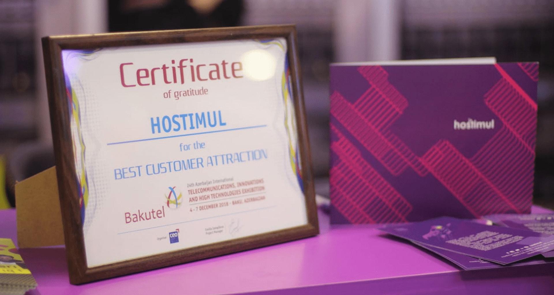 """Best customer attraction"" certificate"