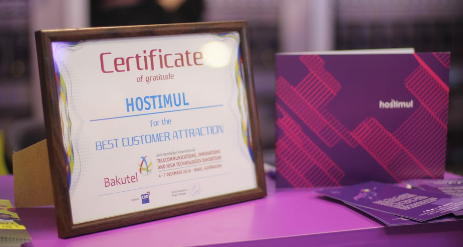 "Bakutel awarded us with ""Best customer attraction"" certificate."